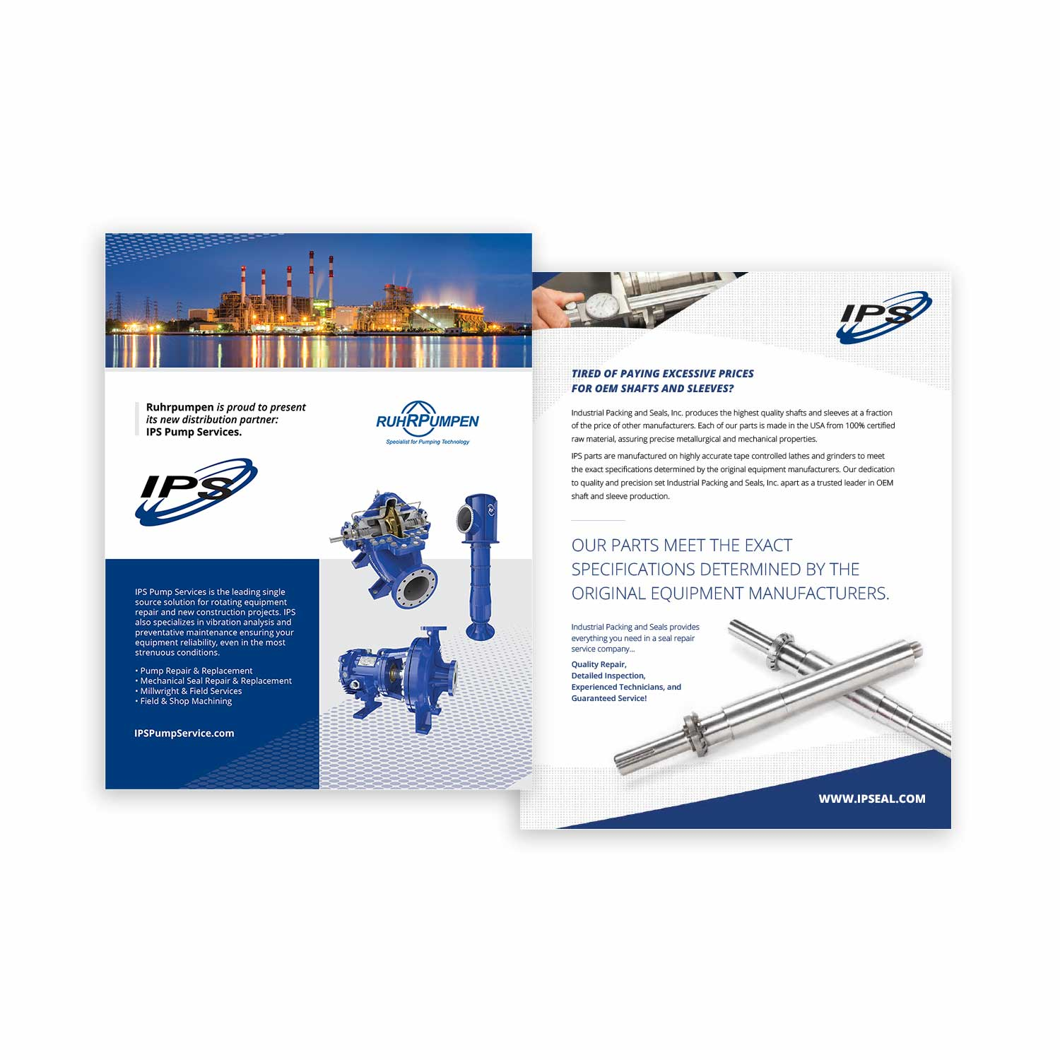 Graphic design of brochures and flyers for IPS in Houston, Texas.