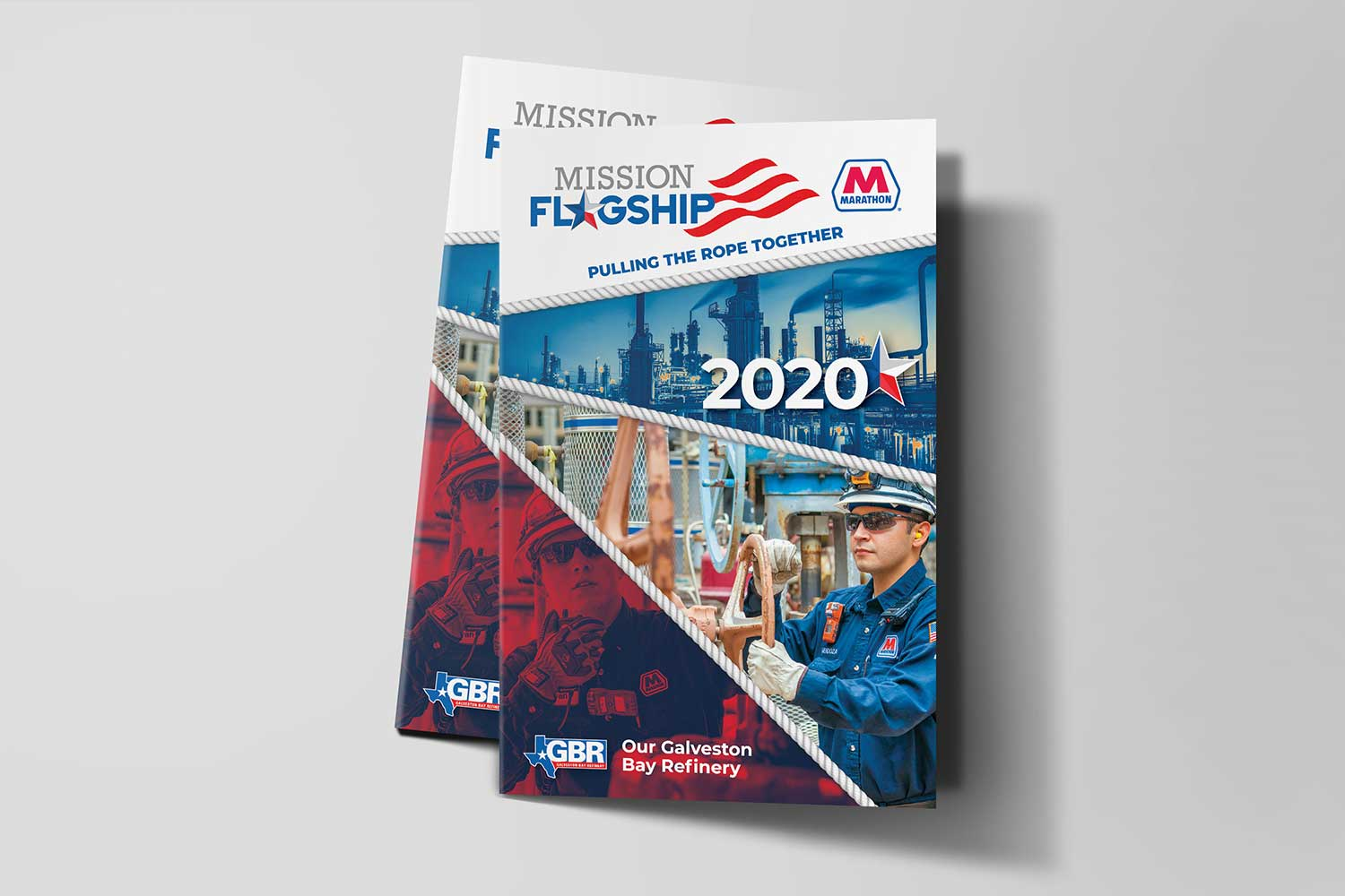 Design and printing of bi-fold brochure for Marathon Galveston Bay Refinery for marketing event.