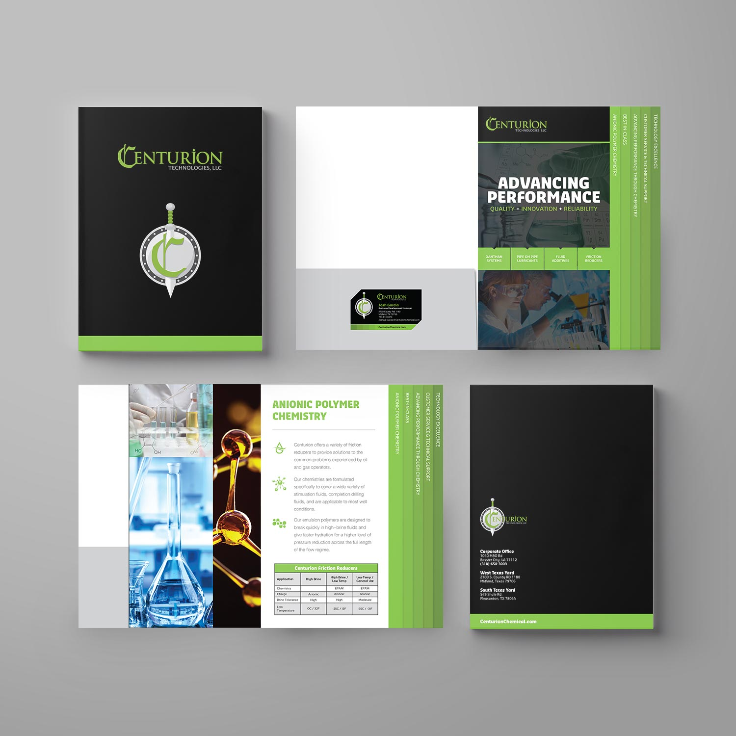 Design and printing of tabbed pocket presentation folder for Centurion.