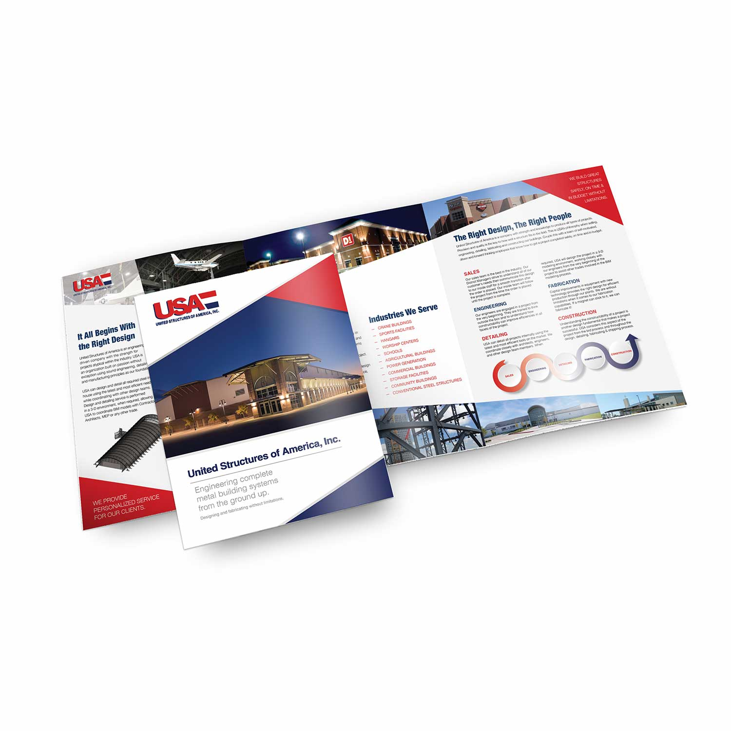 Graphic design, printing and photography of tri-fold brochure for USA.