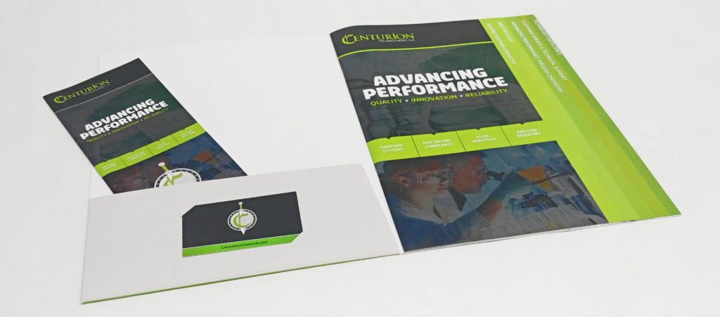 Speciality Corporate Presentation Folder with Staggered Brochure Pages