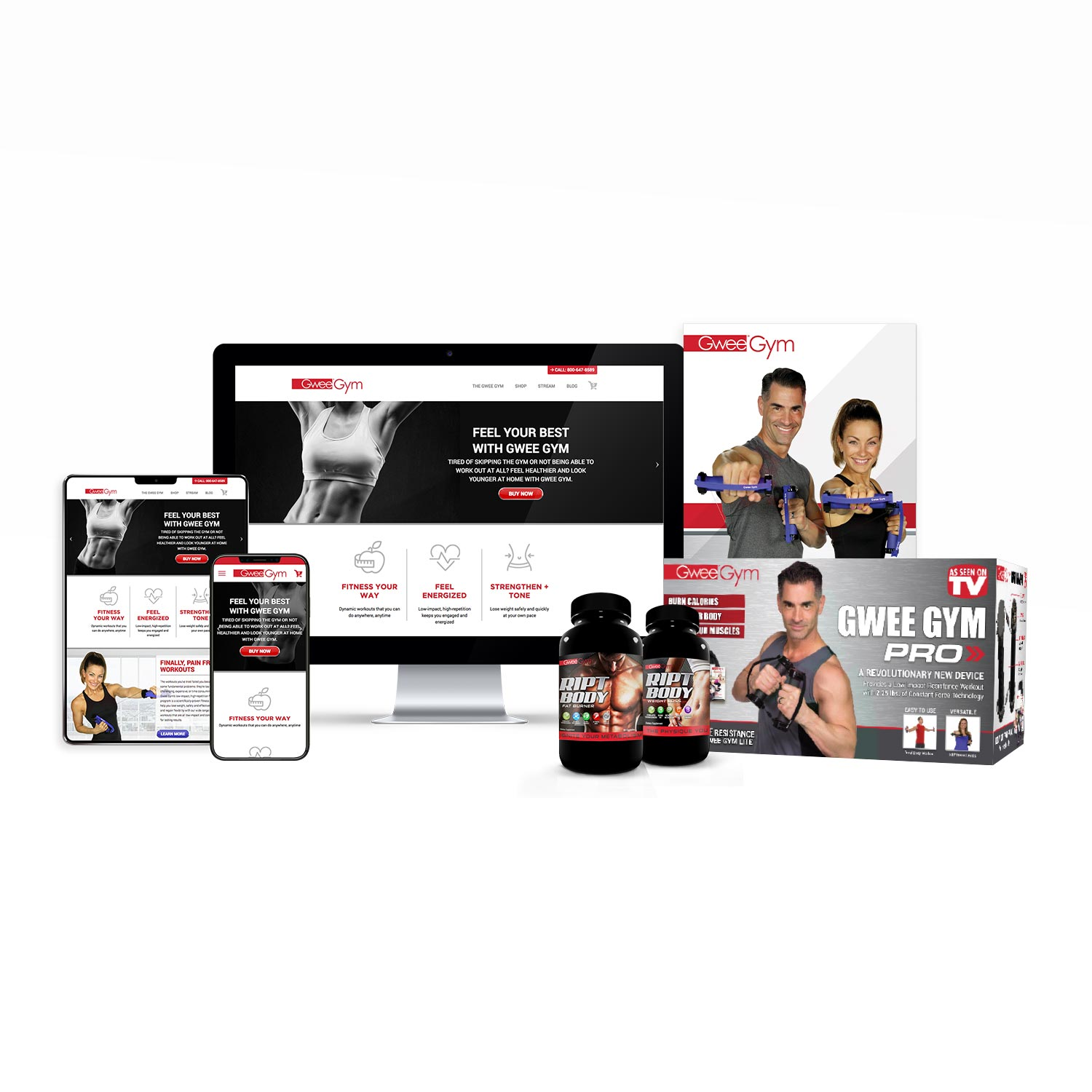 Website design, print design, product packaging design for Gwee Gym.